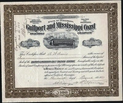 Gulfport And Mississippi Coast Traction Co, 1921, Mississippi Stock Certificate