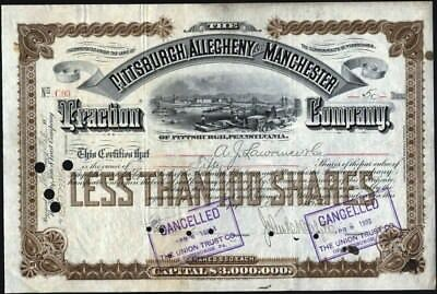 Pittsburgh, Allegheny And Manchester Traction Co Of Pa, 1892 Stock Certificate