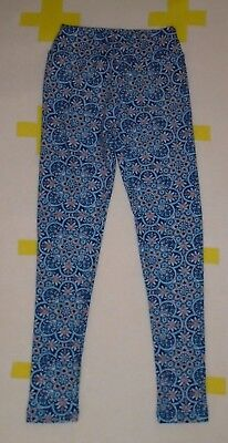 LuLaRoe Tween Girls Leggings Blue Print Sz 8/9/10/11/12 LN! Soft Knit Stretch