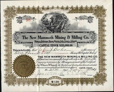 New Mammoth Mining & Milling Co, 1909, Mines In Lake County, Leadville, Co.