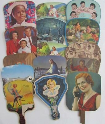 Lot Vtg Advertising Hand Fans Dionne Quintuplets Nymph Fishing Funeral Home etc