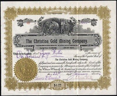 Christina Gold Mining Co Of Colorado, Uncancelled 1896 Stock Certificate