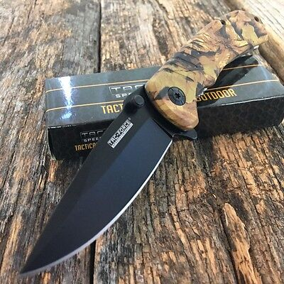 "8"" TAC FORCE SPRING ASSISTED KNIFE Camo Tactical Folding EDC POCKET Blade -A"