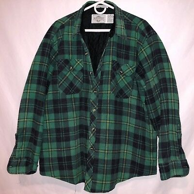 VTG 80s QUILTED LINED NORTHWEST TERRITORY THICK FLANNEL PLAID SHIRT/JACKET 2XL