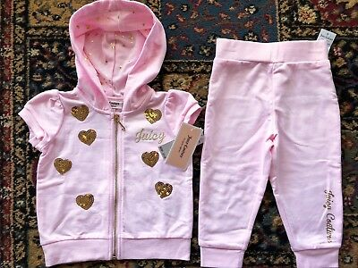 NWT New JUICY COUTURE Hoodie & Pant Set Baby Girl Size 12 Months Tracksuit $65