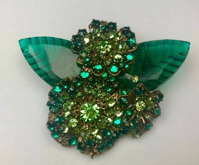 Stunning Signed Miriam Haskell Brooch Pin Glass Leaves Green Rhinestones