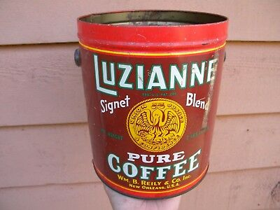 SCARCE Vintage SIGNET BLEND LUZIANNE PURE COFFEE Can - NEW ORLEANS Antique Tin