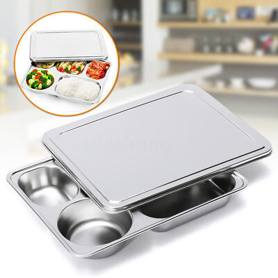 Stainless Steel Eco Lunchbox Divided Lunch Food Serving Bento Box Tray +Cover AU