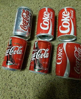 Lot of 6 mini rare Coca Cola coke cans can 8oz must see vintage foreign Europe
