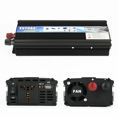 2000W DC 12V AC 110V Car Sine Wave Power Inverter Charger Converter + USB Port