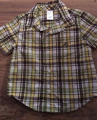 Gymboree Turtle-y Cute Boys Short Sleeve Button Up Shirt Size 18-24 Months Green