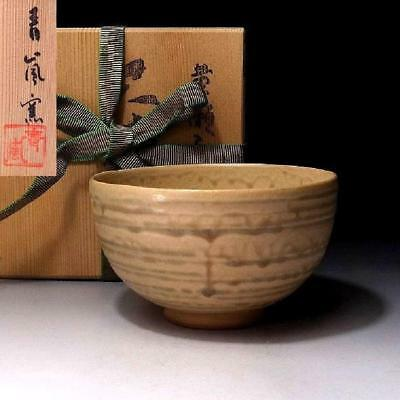 KF2: Japanese Pottery Tea bowl, Seto ware with Signed wooden box