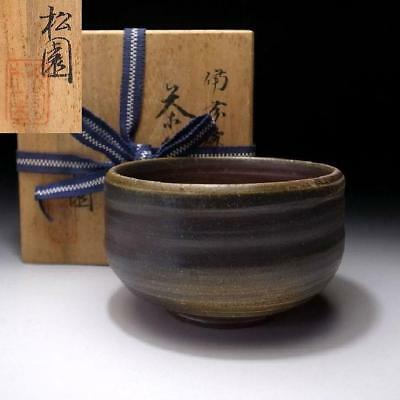 NF9: Vintage Japanese Pottery Tea bowl, Bizen ware with Signed wooden box