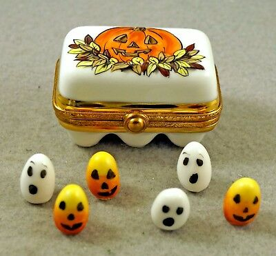 New French Limoges Trinket Box Halloween Egg Carton Removable Half A Dozen Eggs