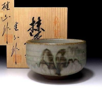 MG8: Vintage Japanese Pottery Tea Bowl, Arita ware with Signed wooden box