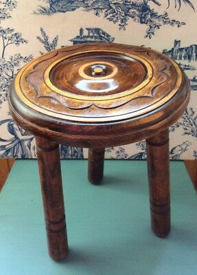 Vintage Carved Wooden 3 Legged Milking Stool Round Top (1134)