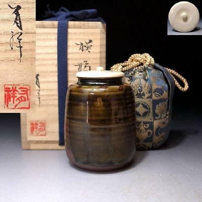 JN7: Japanese Tea Caddy with high-class lid by 1st Class potter, Yusho Sasada
