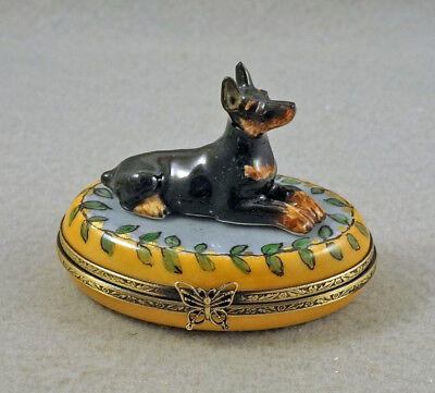 New French Limoges Trinket Box Doberman Pinscher Dog Puppy On Green Leaves