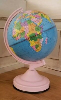 Vintage Electric Pink World Globe Atlas Light Up Touch Activated Excellent