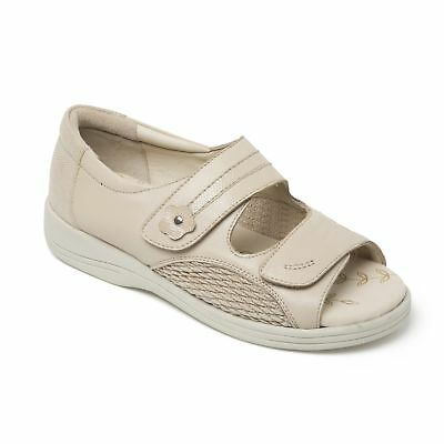 3491f971a Padders GRACEFUL Ladies Womens Leather Extra Wide Fit (3E 4E) Sandals Beige  New