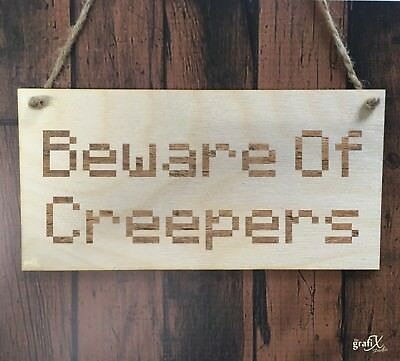 Beware Of Creepers Computer Wooden Plaque Sign Laser Engraved pq3