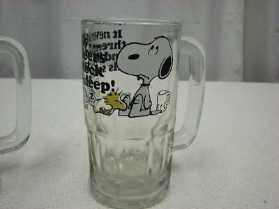 "VINTAGE  SNOOPY & WOODSTOCK  Peanuts ""Too much root beer"" GLASS DRINKING MUG CUP"