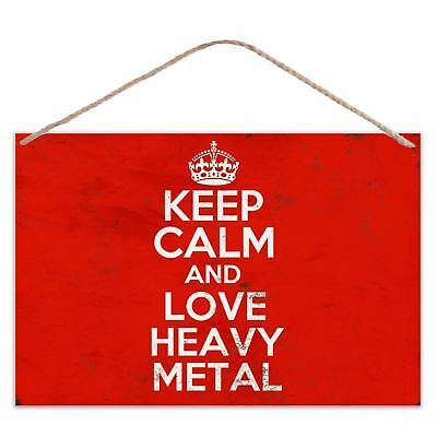 Keep Calm And Love Heavy Metal - Vintage Look Metal Large Plaque Sign 30x20cm