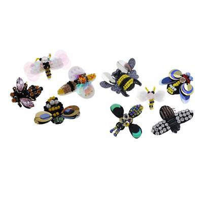 9pcs/Set Bee Dragonfly Rhinestone Beaded Patches Embroidery Fabric Appliques