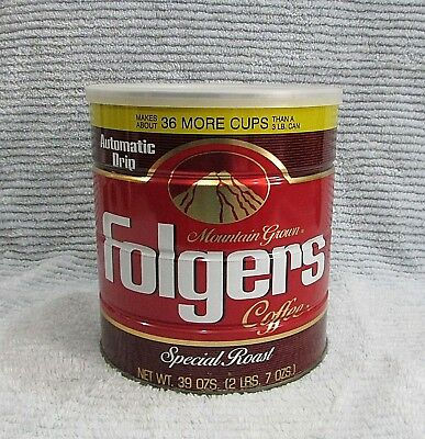 Old 1984 Empty Folgers 3 lb Special Roast Coffee Mountain Grown Tin Can FREE SH