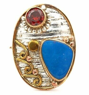 Three Tone- Blue Fire Opal 925 Solid Sterling Silver Ring Jewelry Sz 7.5 C1-3