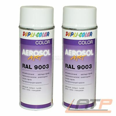 2x 400ml DUPLI COLOR AEROSOL ART RAL 9003 WEISS GLANZ LACKSPRAY SPRÜH LACK SPRAY