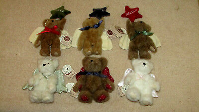 """Lot Of (6) 6"""" Boyd Plush Bear Angel Ornaments - Vguc All Have Tags Attached"""