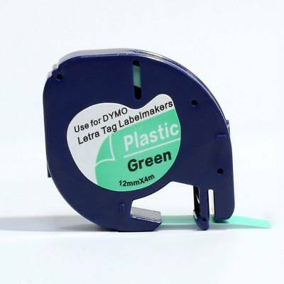 Compatible Dymo LETRATAG Plastic Label Tape 12mm x 4m Black on Green (91204)