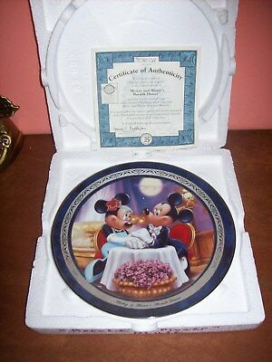 Disney Bradford Exchange MICKEY & MINNIE'S MOONLIT DINNER 2nd IN ISSUE OF THE -