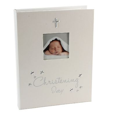 Baby Christening Day Photo Album Ivory With Silver Cross Holds 96 6X4 Gift