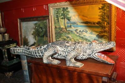 "Vintage 25"" Hand Carved Wooden Painted Alligator Crocodile Made Indonesia"