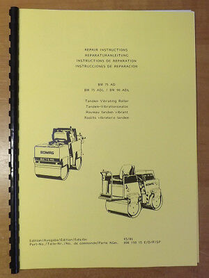 Bomag Tandem Roller Repair Instructions Manual - BW75AD - BW75ADL - BW90ADL