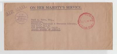 """Fiji To Us 1955 Ohms Air Cover """"postage Paid In Cash"""" H/s+Fiji Off Pr Office H/s"""