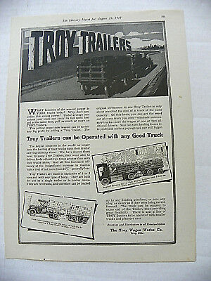 "1917, Aug.25 Literary Digest Magazine Troy Wagon ""coca-Cola"" Truck With Trailer"