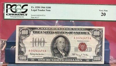 1966 $100 Red Seal United States Note Pcgs Vf 20 Bin Free Shipping
