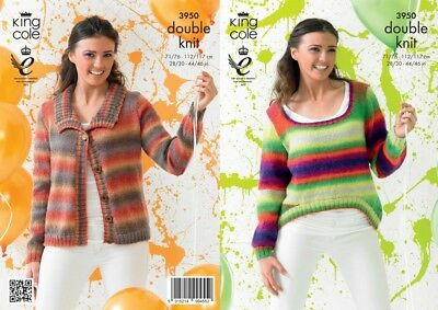 KCP-3314 King Cole Ladies Sweaters Riot Knitting Pattern 3314 DK