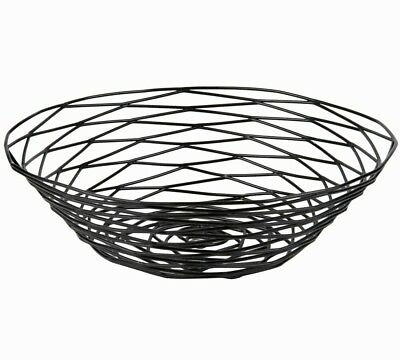 Black round wire metal basket 10 x 3 restaurant for pastries bread and more