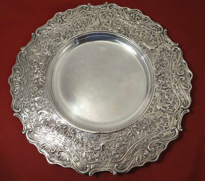 Antique 19c Repousse Birds Roses Hand Wrought Chased Silver Charger Plate