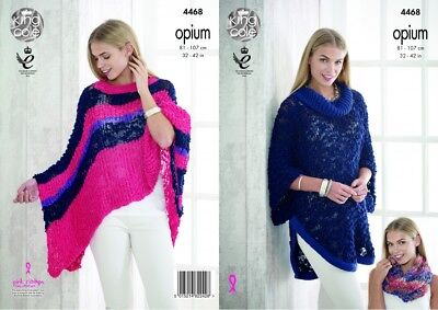 King Cole Womens Knitting Pattern Ladies Opium Scarf Snoods Poncho /& Wrap 3685
