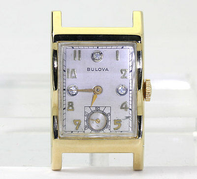 Vintage Bulova diamond watch 14K yellow gold mechanical 21.3 MM X 36 MM 10.3 GM