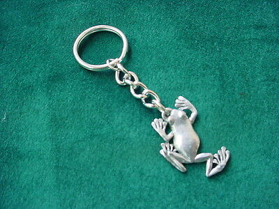 TREE FROG Silver PEWTER KEYCHAIN or CHRISTMAS ORNAMENT Key Chain Ring ANIMAL New
