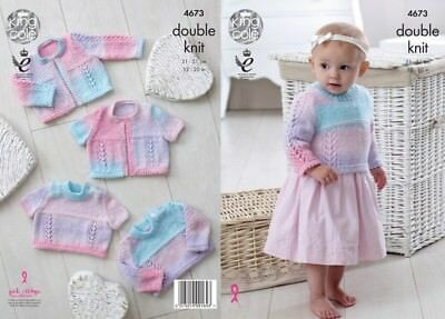 King Cole Baby Cardigans & Sweaters Melody Knitting Pattern 4673  DK (KCP...
