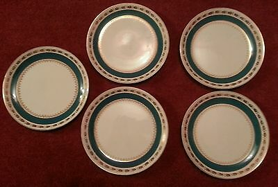 """5 x Vintage Crown Ducal AGR Turquoise 7"""" Side Plates C.1940s"""