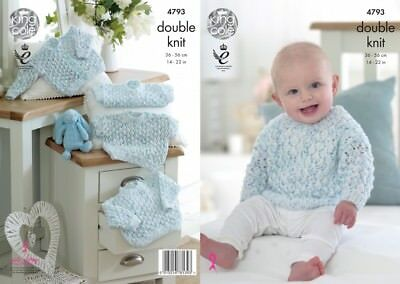 King Cole Baby Sweaters & Cardigans Smarty Knitting Pattern 4793 DK (KCP...
