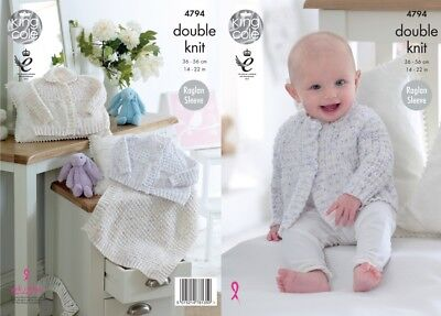 King Cole Baby Cardigans & Blanket Smarty Knitting Pattern 4794  DK (KCP-...